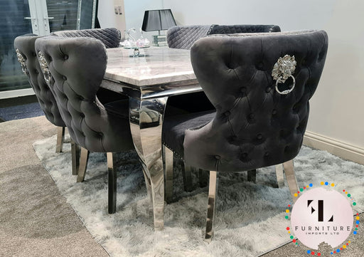 Valentino Imperial Grey Solid Marble Dining Table Set + Valentino Chairs