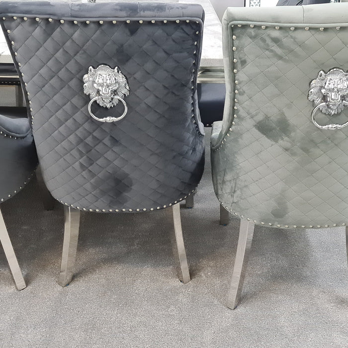 Majestic Dining Chairs Lion Knocker chrome legs - Furniture Imports LTD