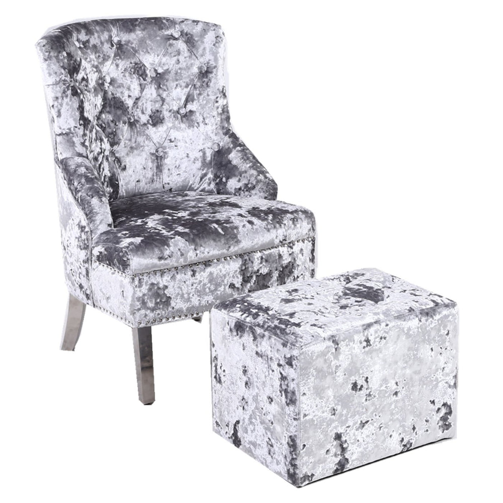 Silver Bedroom Crushed Velvet Wing Chair