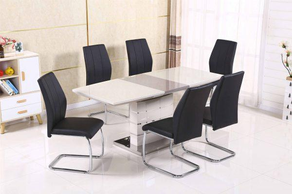 Milan Cappuccino Extending Dining Table + 6 Lisbon Chairs - Furniture Imports LTD