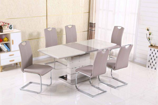 Milan Cappuccino Extending Dining Table + 6 Milan Chairs - Furniture Imports LTD