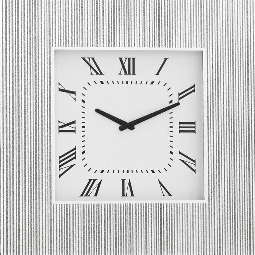 Silver Mirrored Square Clock - BESPOKEZ