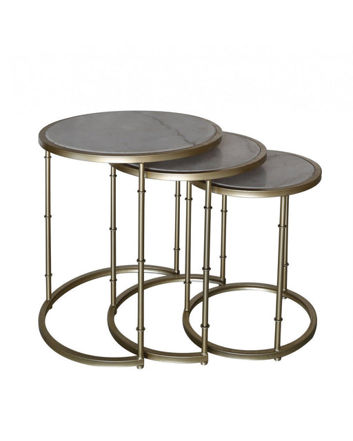 Nest Of 3 Gold Metal & Marble Tables - BESPOKEZ