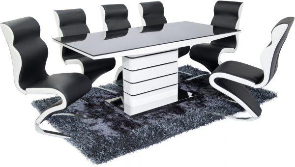 New York Dining Set (4 Black & White Boston Chairs) - Furniture Imports LTD