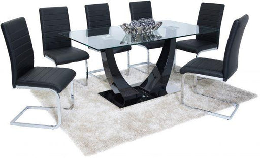 Oslo Dining Set (6 Black New York Chairs) - Furniture Imports LTD