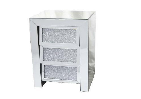 Crushed Diamond 3 Drawer Bedside - Furniture Imports LTD
