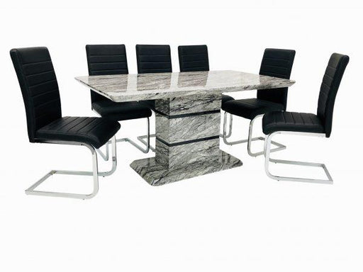 Roseberry Dining Set + 6 New York Chairs (Marble Effect) - Furniture Imports LTD