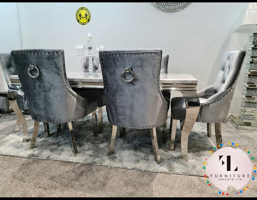 Imperial Mirrored Grey Marble Dining Table Set with Parklane Chairs
