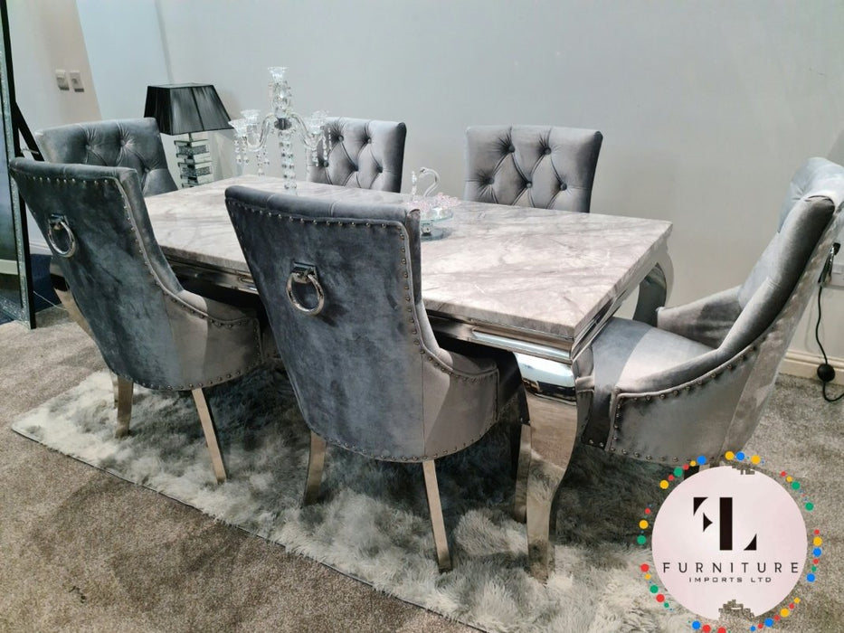 Imperial Mirrored Grey Solid Marble Dining Table Set with Parklane Chairs