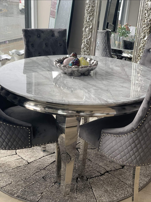 Ashley Round Marble Dining Table + Majestic Velvet Dining Chair
