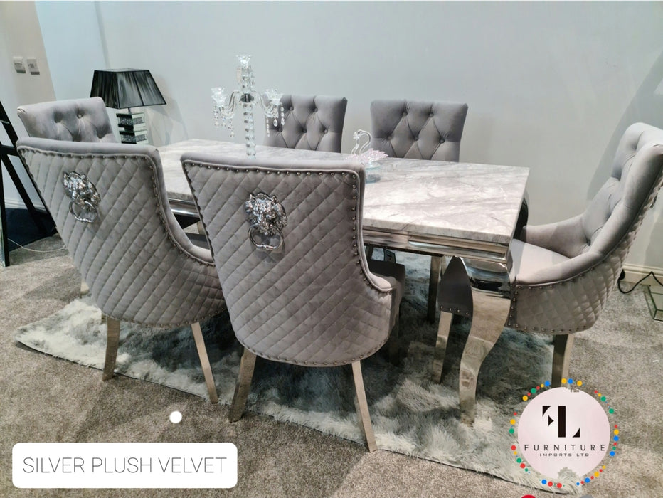 Chelsea Grey Marble Dining Table Set + Majestic Chairs + Arianna Bench