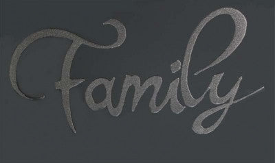 Silver Glitter Family on Smoke Glass - BESPOKEZ