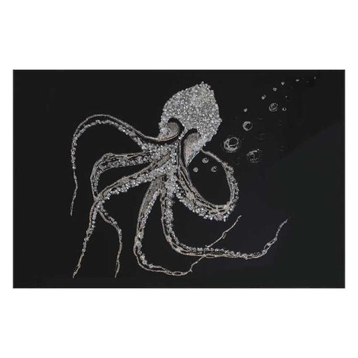 Silver Glitter Octopus On Black Glass Mirror - BESPOKEZ