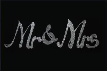 Silver glitter Mr & Mrs on Black - BESPOKEZ