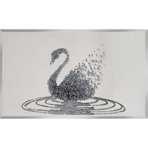 Silver glitter Swan on Mirror - BESPOKEZ