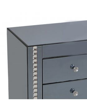 Smoke Crystal 3Drawer Bed Side - BESPOKEZ