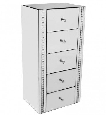 White Crystal 5 Drawer Chest - BESPOKEZ