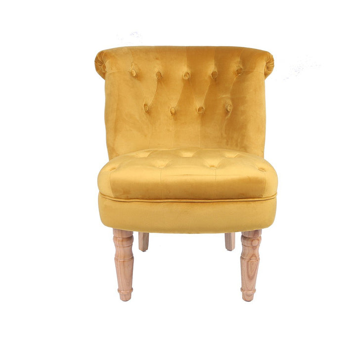 CHARLOTTE 'BOUDOIR STYLE CHAIR - SINGLE MUSTARD PLUSH - Furniture Imports LTD