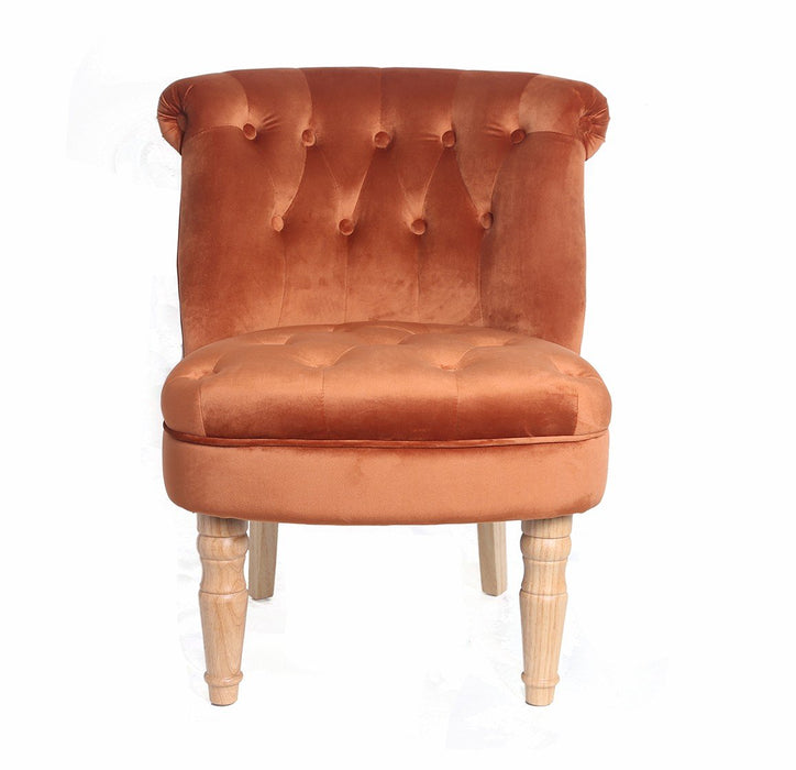 CHARLOTTE 'BOUDOIR STYLE CHAIR - SINGLE ORANGE PLUSH - Furniture Imports LTD