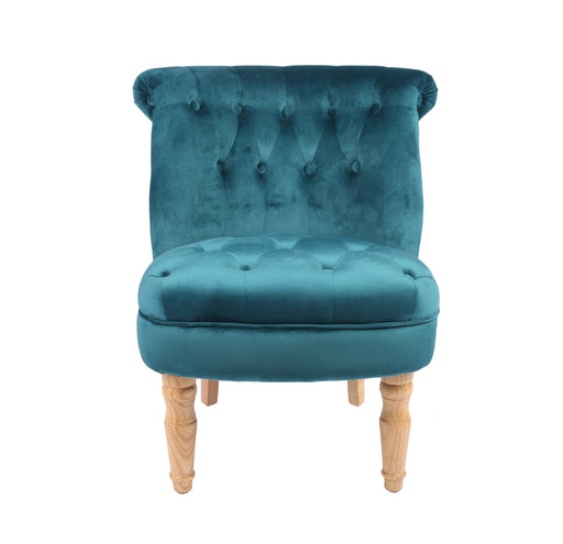CHARLOTTE 'BOUDOIR STYLE CHAIR - SINGLE TEAL PLUSH - Furniture Imports LTD