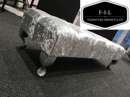 Crushed Velvet Chesterfield FootStool with CRYSTAL DIAMONDS Pouffe footstool living room footstool