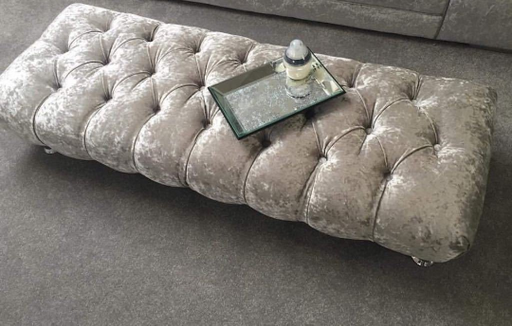 Crushed Velvet Chesterfield FootStool with CRYSTAL DIAMONDS