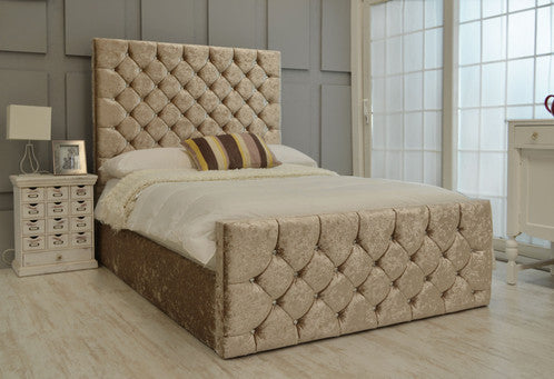 Enigma Ottoman crushed velvet bed double kingsize queen size single