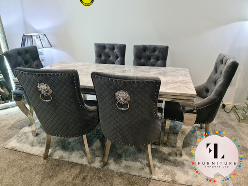 Chelsea Grey Dining Table Set + Majestic Chairs