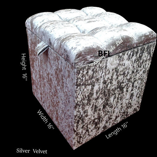 crushed velvet Cubed Style Ottoman Box crushed velvet storage blanket