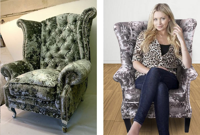 CRUSHED VELVET WING CHAIR - BESPOKEZ