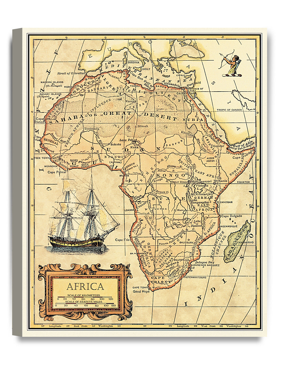 DecorArts- Africa map wall art. Ancient Map Giclee Print Canvas art ...