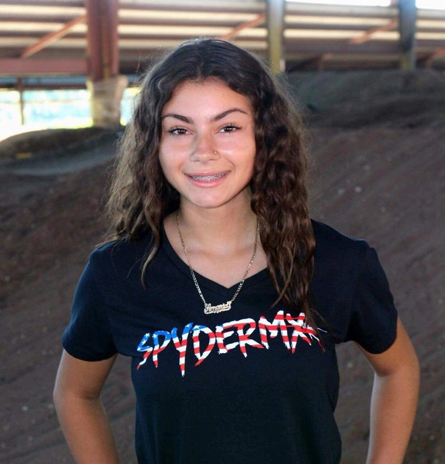 Womens Flag V-Neck Shirt - Spyder MX