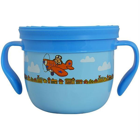 Eco Vessel Gobble N Go Snack Cup Blue with Dog on Plane - Quantum Pride