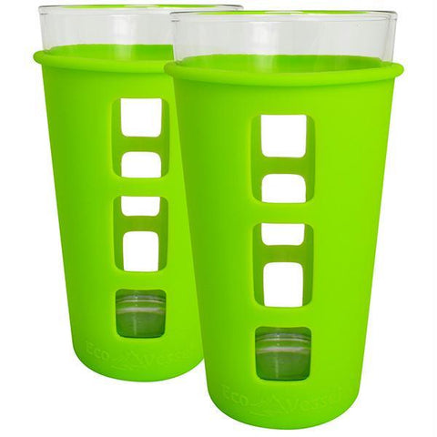 Eco Vessel 2 pc. Vibe Glass Pint w-Silicone Sleeve Grn 16oz - Quantum Pride