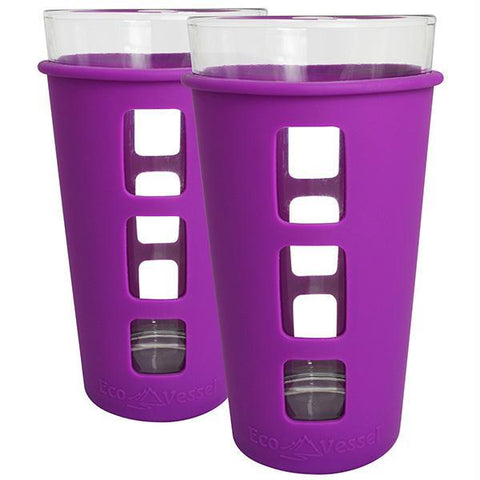 Eco Vessel 2 pc. Vibe Glass Pint w-Silicone Sleeve Prpl 16oz - Quantum Pride
