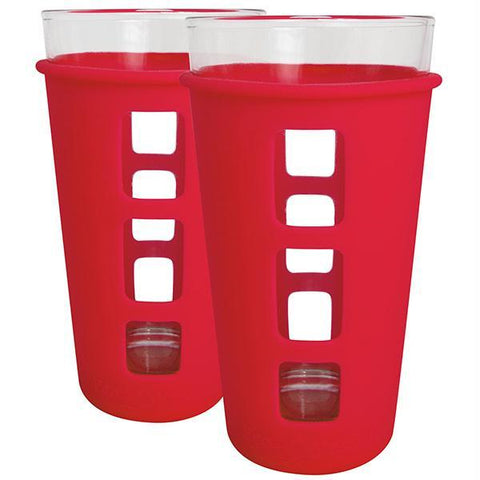 Eco Vessel 2 pc. Vibe Glass Pint w-Silicone Sleeve Red 16oz - Quantum Pride