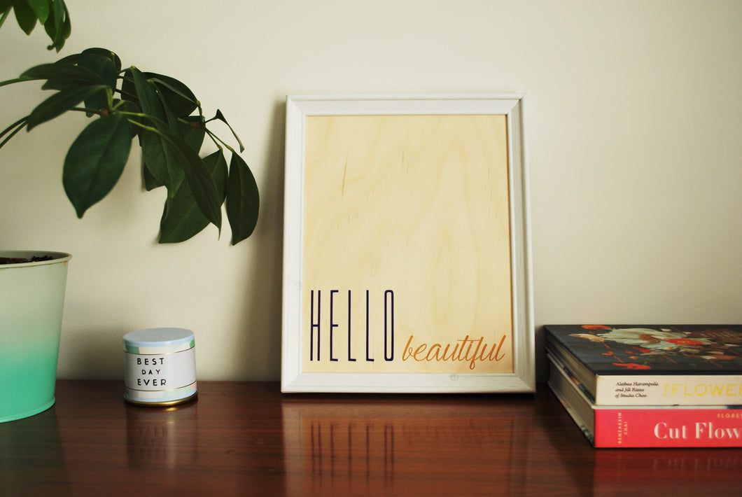 Hello Beautiful Wood Print, Purple