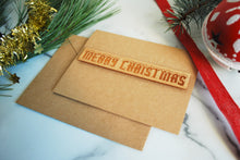 Merry Christmas Card - Wood Greeting Card
