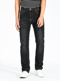 Slim Straight Jeans - Washed Black