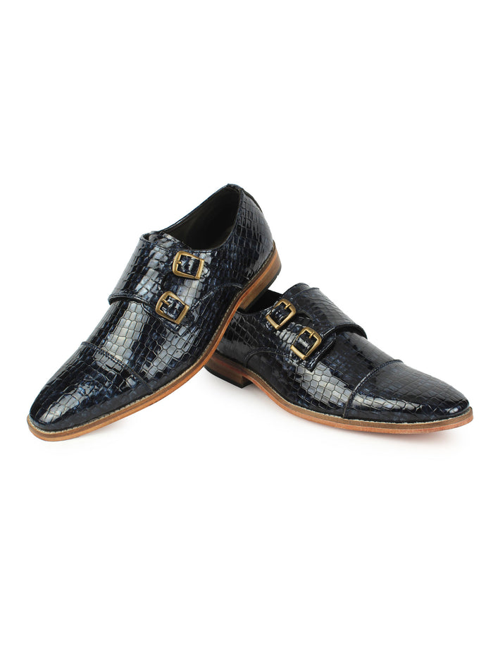 Textured Double Monk Strap Shoes - Blue