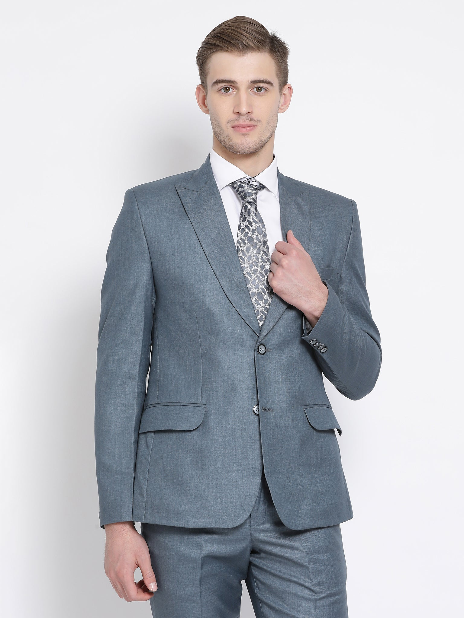 Slim Fit Stone Blue Suit Jacket