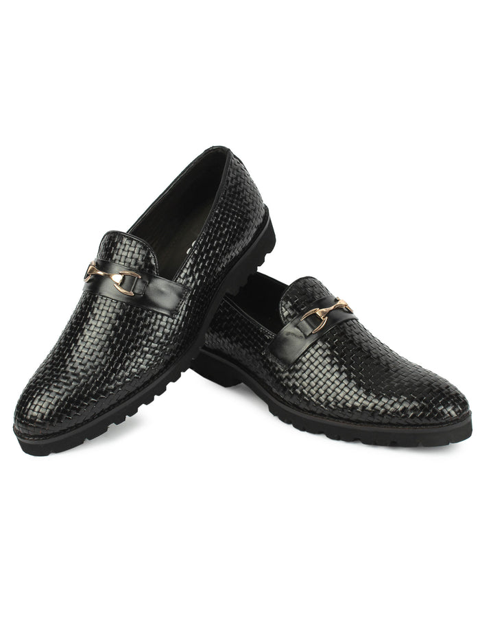 Textured Bit Loafer - Black