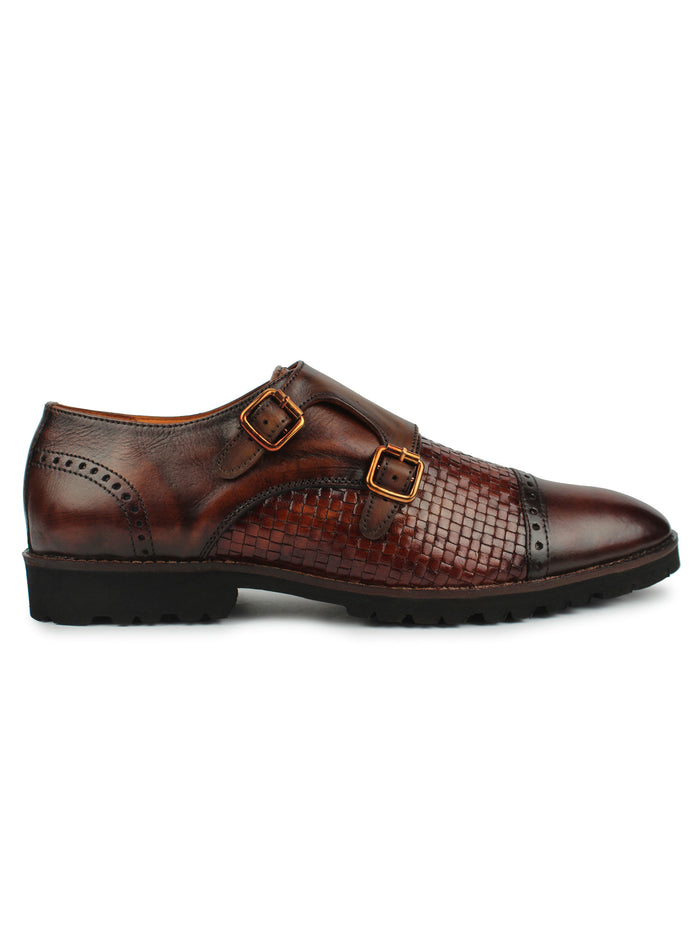 Textured Monk Strap Shoes - Brown