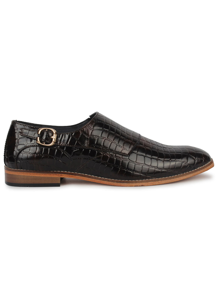 Textured Single Monk Strap Shoes - Brown