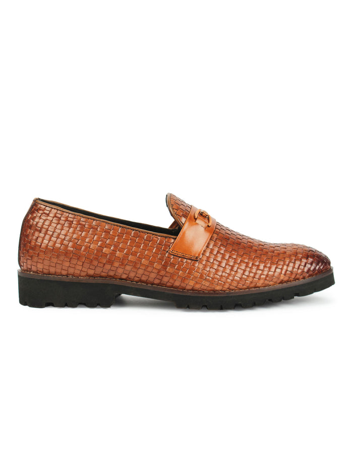 Textured Bit Loafer - Brown
