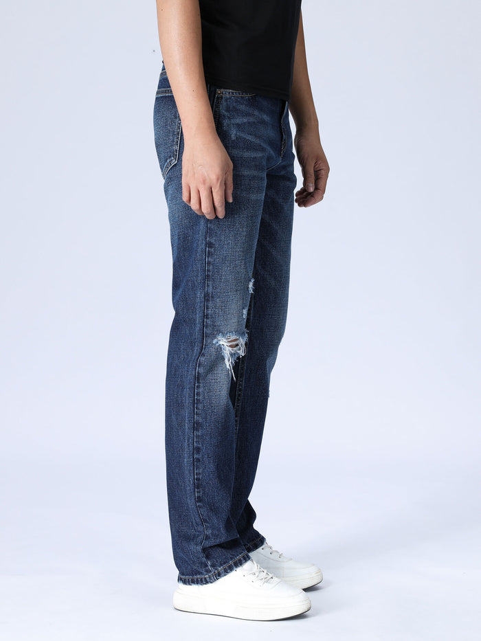 Slim Distressed Jeans - Medium Wash