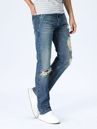 Slim Distressed Jeans - Mid Blue