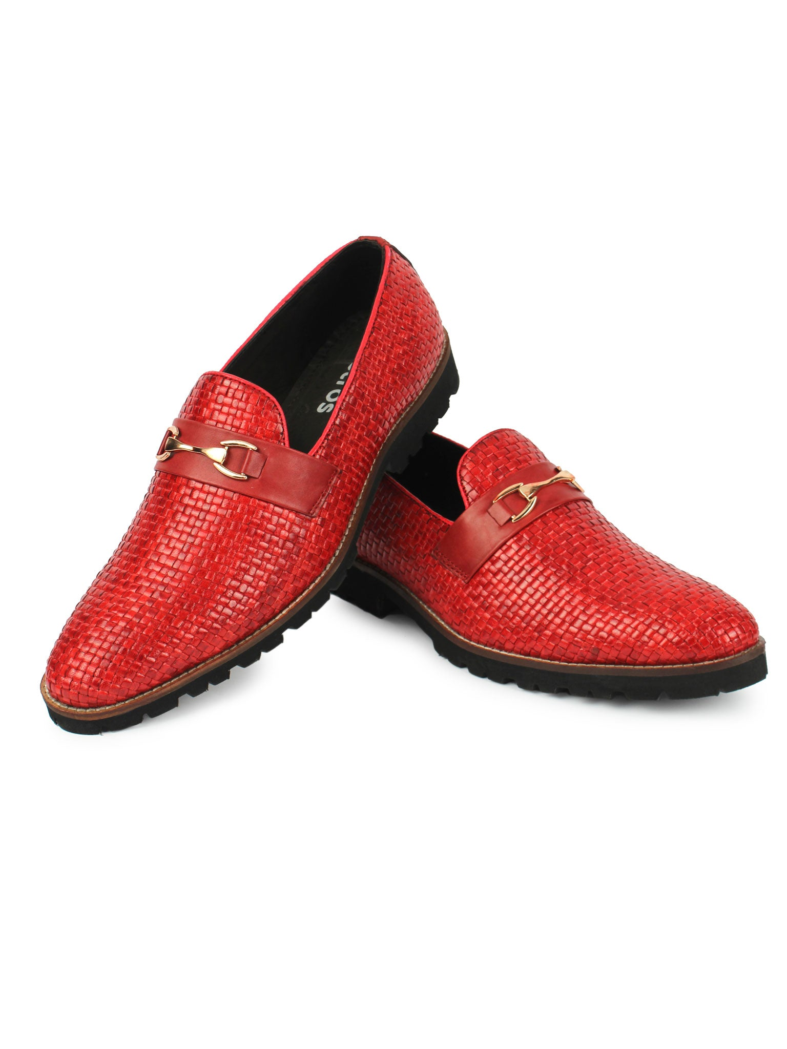 Textured Bit Loafer - Red