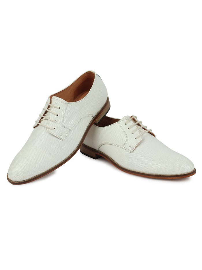 Derby Laced Textured Shoes - White