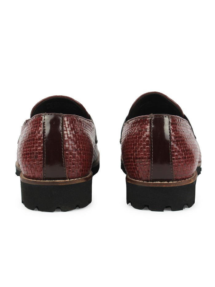 Textured Bit Loafer - Oxblood